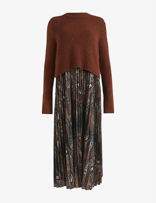 AllSaints Leowa animal-printed pleated dress with wool-blend jumper