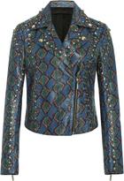 Elie Saab Printed Watersnake Biker Jacket