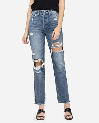 Express Flying Monkey Super High Waisted Straight Jeans