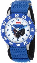 Spiderman Marvel Comics Kids' W000309 Marvel Kid's Stainless Steel Time Teacher Blue Bezel Blue Velcro Strap Watch