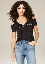 Bebe Lace Up Cold Shoulder Top
