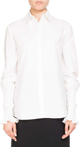 Altuzarra Jorda Button-Front Smocked Ruffle Cuffs Poplin Blouse