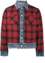 Amiri reversible flannel and denim trucker jacket