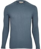 River Island Blue Muscle Fit Ribbed Top