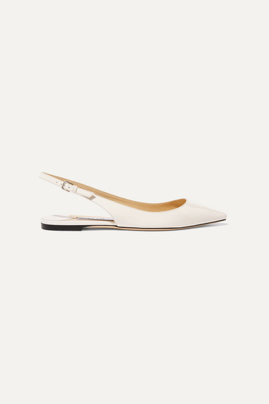Jimmy Choo Erin Patent-leather Slingback Point-toe Flats