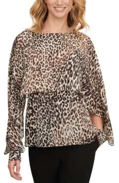 DKNY Leopard-Print Cape Top