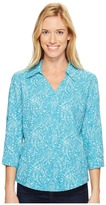 Royal Robbins Expedition Chill Stretch Sky Print 3/4 Sleeve Top Women's Long Sleeve Button Up