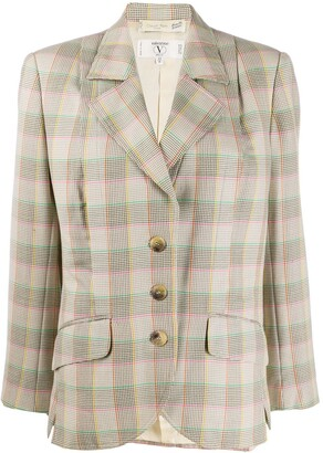 Valentino Pre Owned 1980s Checked Slim-Fit Jacket