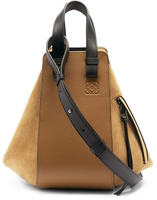 Loewe Hammock Small Suede And Leather Bag - Tan