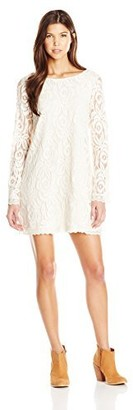 Love, Fire Love Fire Women's Long Sleeve Lace Shift Dress