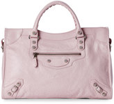 Balenciaga Powder Pink Classic Silver City Bag