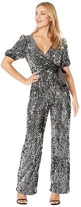 Donna Morgan Stretch Velvet Sequin Blouson Sleeve Faux Wrap with Satin Tie Jumpsuit