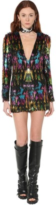 DSQUARED2 Sequin Embellished Silk Mini Dress