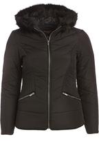 Celebrity Pink Jet Black Faux Fur-Accent Jacket