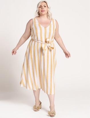 ELOQUII Striped V-Neck Dress