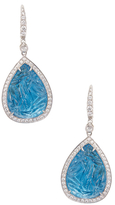 Rina Limor Fine Jewelry 18K White Gold, 0.86 Total Ct. Diamond & Carved Blue Topaz Earrings