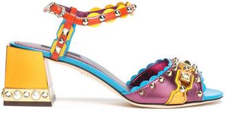 Dolce & Gabbana Color-block Embellished Leather Sandals