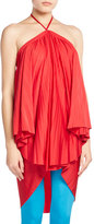 Balenciaga Pleated Halter Tie-Neck Dress, Red