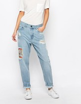 WÅVEN Aki Boyfriend Jeans with Patches and Distressing