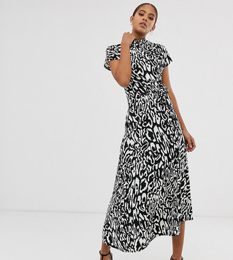 Asos DESIGN Tall cowl neck tie waist maxi dress in mono animal