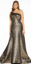Mac Duggal One Shoulder Metallic Trumpet Plus Size Evening Dress