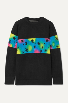The Elder Statesman Intarsia Cashmere Sweater - Black