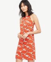 Ann Taylor Petite Leaf Swirl Halter Dress