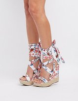 Charlotte Russe Floral Lace-Up Wedge Sandals