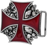Buckle Rage Adult Mens Maltese Iron Cross Skulls Gothic Punk Belt Buckle