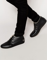 Fred Perry Byron Leather Chukka Plimsolls With Faux Shearling Lining - Black