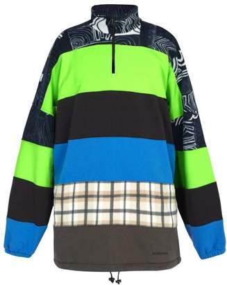 Balenciaga Oversized Half Zip Fleece Sweatshirt - Mens - Blue