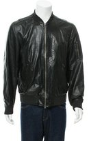 Theory Leather Rib Knit-Trimmed Jacket