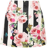 Dolce & Gabbana Printed Cotton And Silk-blend Brocade Mini Skirt - White