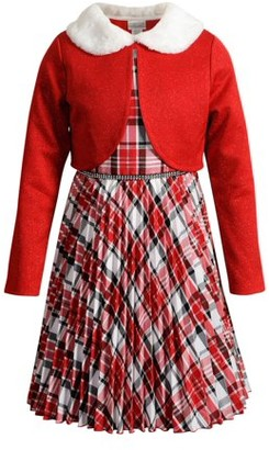 Youngland Girls Holiday Christmas Plaid Dress with Santa Cardigan, Sizes 7-16