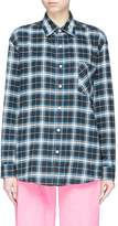 Adaptation x Dogtown logo embroidered check plaid flannel shirt