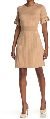 Calvin Klein Ribbed Ruffle Sleeve Sweater Dress