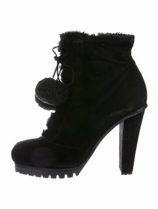 Marc Jacobs Suede Pom-Pom Embellishments Lace-Up Boots Black
