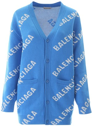 Balenciaga Blue And Ivory Over-sized Wool Logo Cardigan