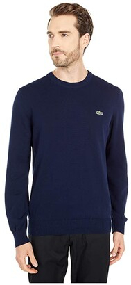 Lacoste Long Sleeve Crew Neck Sweater (Black) Men's Clothing
