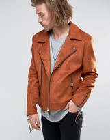 Asos Faux Suede Biker Jacket With Tassles In Orange