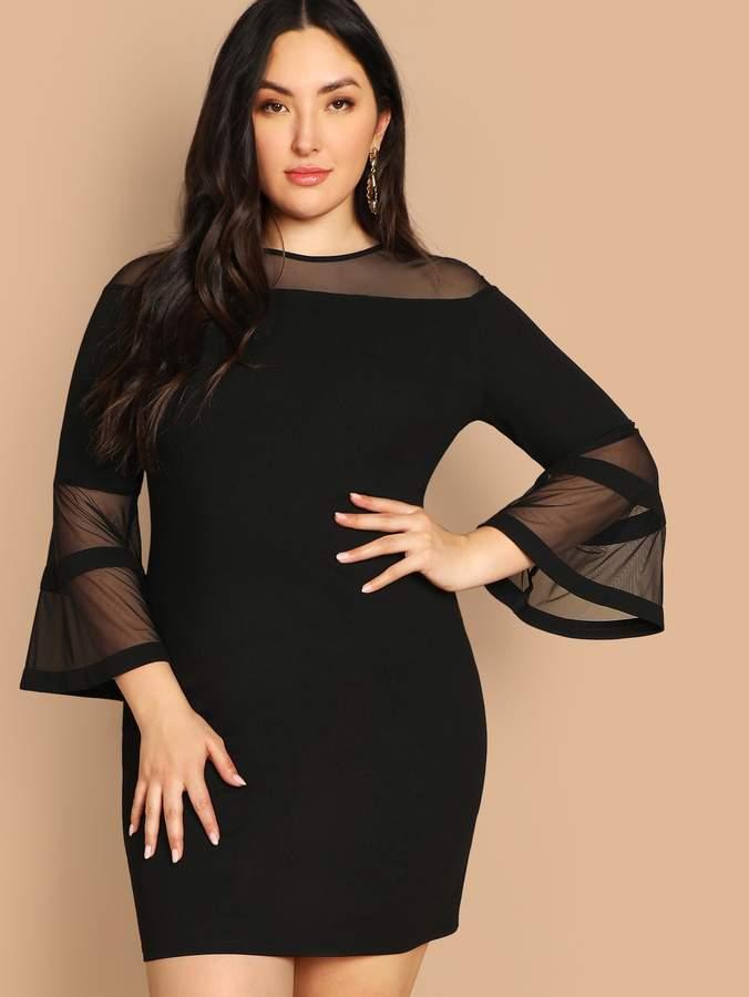 6ef2a2fda6 Plus Size Sheer Sleeve Dress - ShopStyle