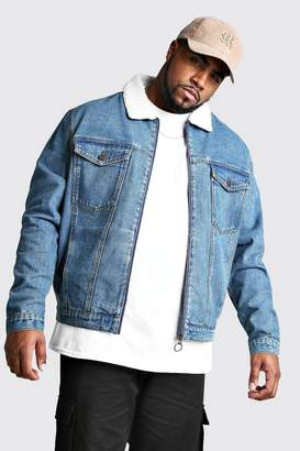 boohoo Big And Tall Zip Through Borg Collar Denim Jacket