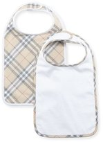 Burberry Core Two-Piece Cotton Bib Set, White