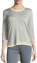 P. Luca Layered 3/4-Sleeve High-Low Tee, Gray/Yellow