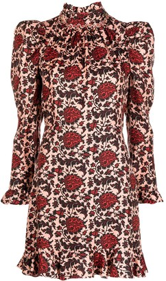 Sandro Ruffled Silk-Blend Mini Dress