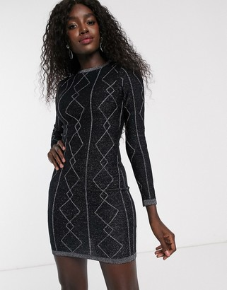 Lipsy diamond lurex tunic dress in black