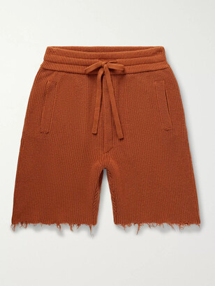 Alanui Distressed Ribbed Cashmere And Cotton-Blend Shorts