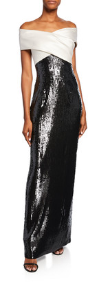 St. John Layered Sequin Off-the-Shoulder Silk Georgette Gown w/ Slit