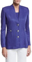 Misook Textured Gold-Button Jacket, Storm, Petite