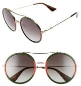 Gucci Women's 56Mm Round Sunglasses - Glitter Blue/ Brown